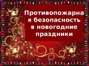 Безопасность в Новогодние праздники